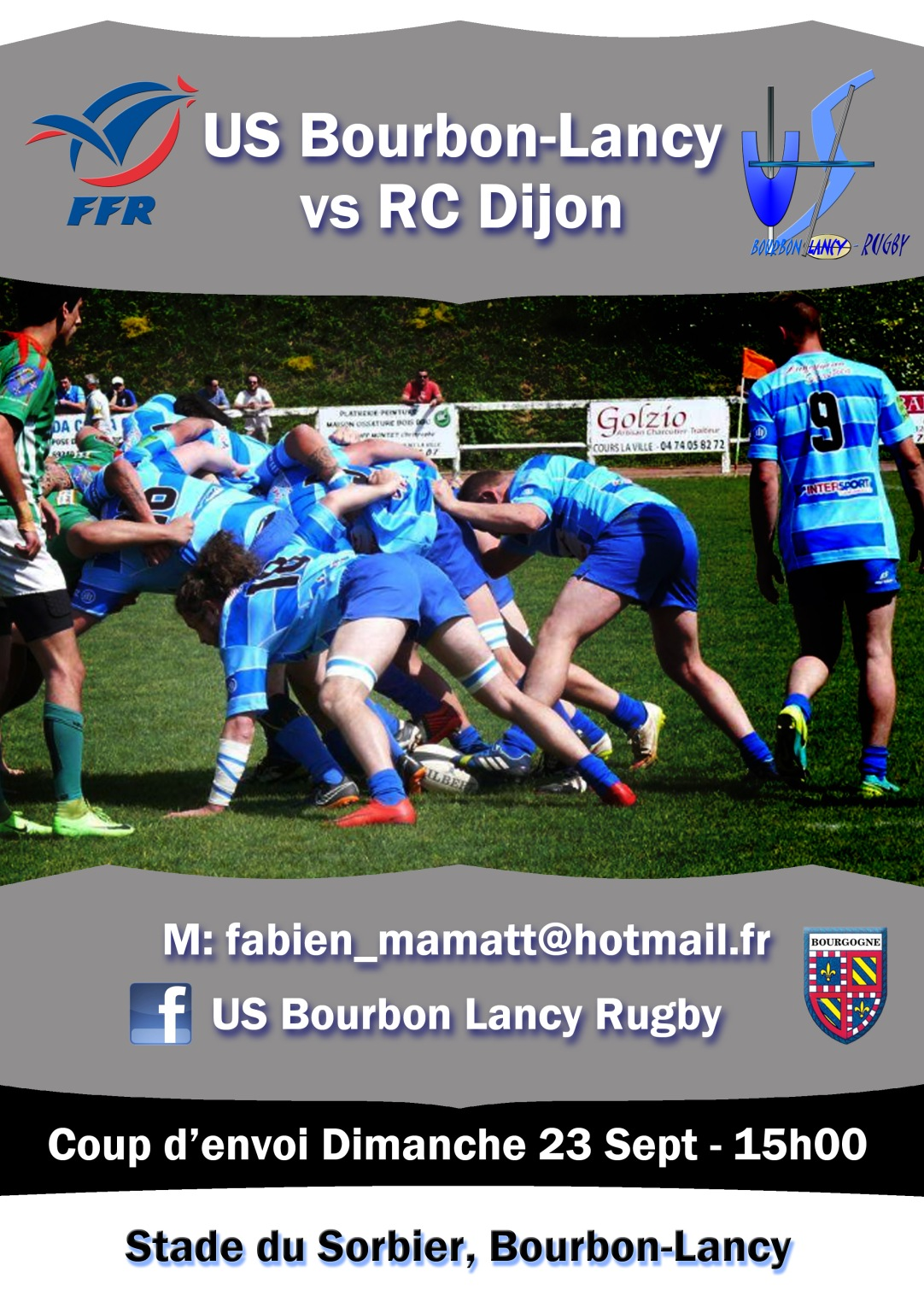 Bourbon-Lancy RC Dijon rugby poster match Sept 2018