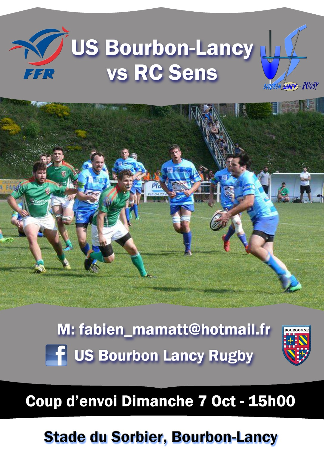 Bourbon-Lancy RC Sens rugby poster match Oct 2018