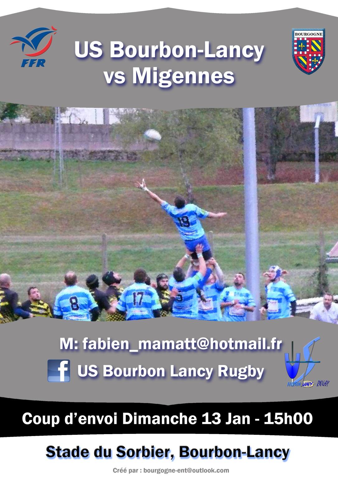 rugby bourbon-lancy contre migennes jan 2019