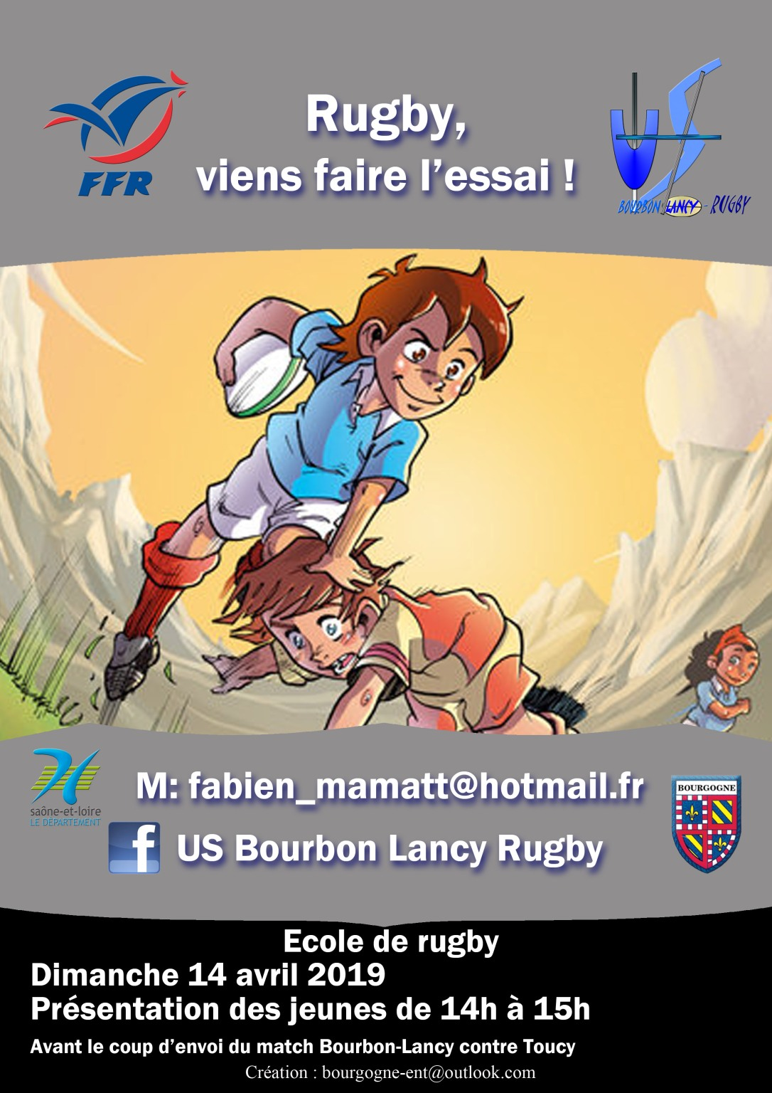 Bourbon-Lancy rugby poster recruitement enfants Avril 2019
