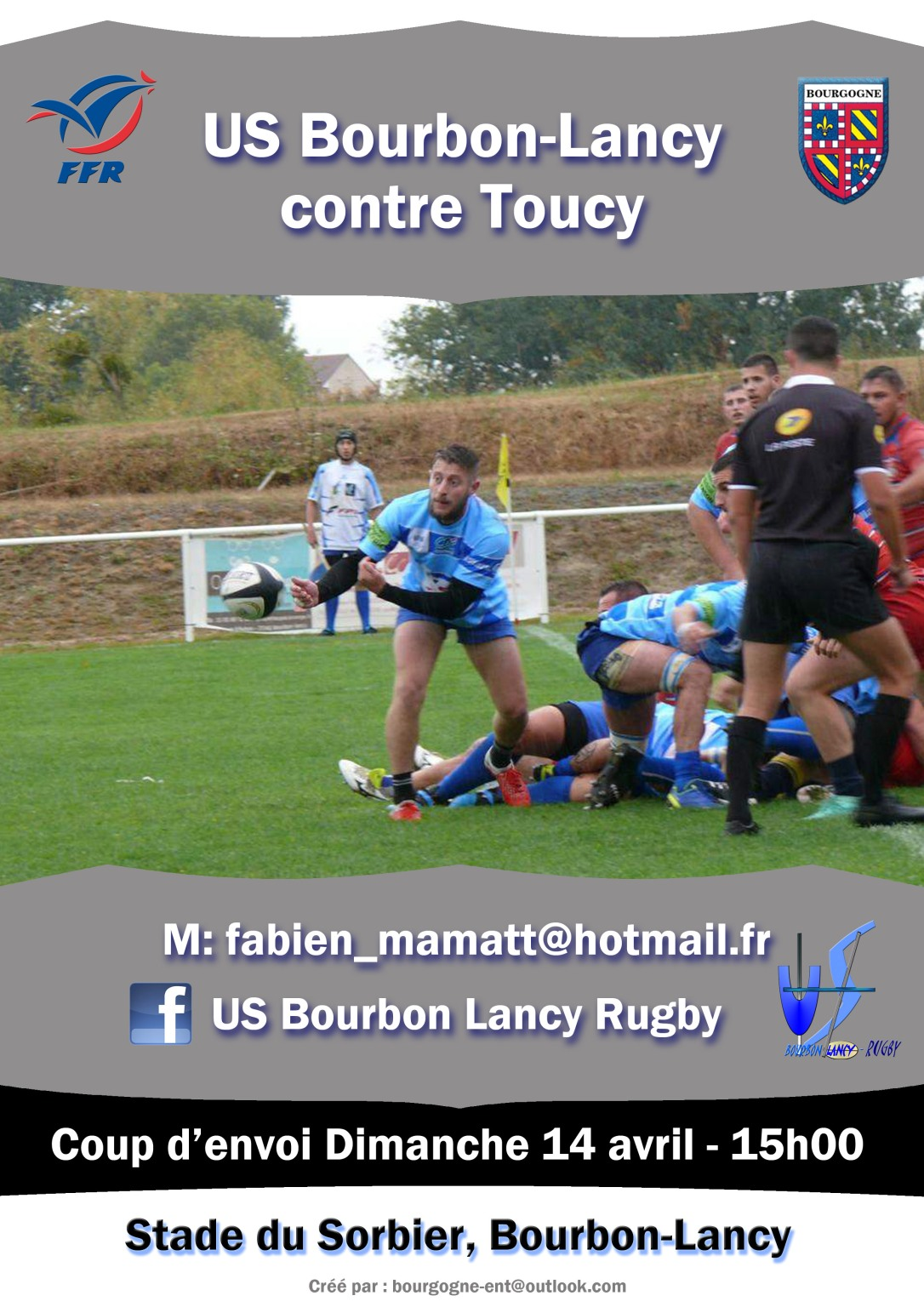 Rugby Bourbon-Lancy contre Toucy 14 avril 2019
